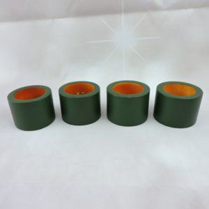 Green Wooden Napkin Holders Set of 4 Round India